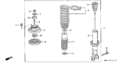 1998 civic GX(ABS) 4 DOOR 4AT REAR SHOCK ABSORBER diagram