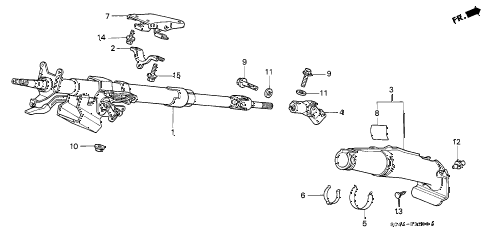1998 civic DX 4 DOOR 5MT STEERING COLUMN diagram