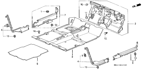 2000 civic DX 4 DOOR 5MT FLOOR MAT diagram