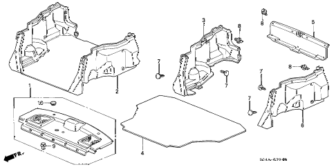 2000 civic EX 4 DOOR 5MT REAR TRAY - TRUNK GARNISH (1) diagram