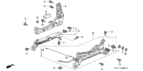 1998 civic LX 4 DOOR 5MT FRONT SEAT COMPONENTS (R.) diagram