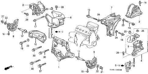 1998 civic LX 4 DOOR 5MT MT ENGINE MOUNTS diagram