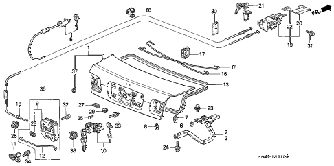 1998 civic DX 4 DOOR 5MT TRUNK LID diagram