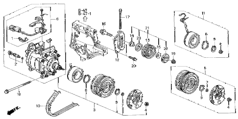 1998 civic DX 4 DOOR 5MT A/C COMPRESSOR (SANDEN) diagram