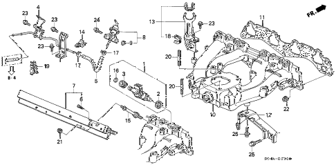 1999 civic DX-V 4 DOOR 4AT INTAKE MANIFOLD (1) diagram