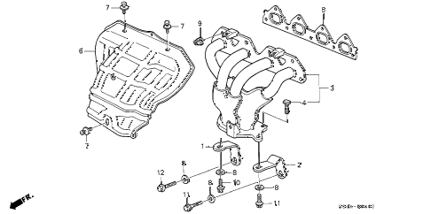 2000 civic EX 4 DOOR 5MT EXHAUST MANIFOLD (3) diagram