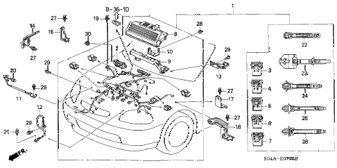 1998 civic GX(ABS) 4 DOOR 4AT ENGINE WIRE HARNESS diagram