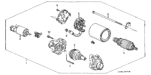 1999 civic EX 4 DOOR 5MT STARTER MOTOR (1) diagram
