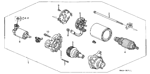 2000 civic GX 4 DOOR 4AT STARTER MOTOR (2) diagram