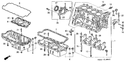 2000 civic EX 4 DOOR 5MT CYLINDER BLOCK - OIL PAN diagram