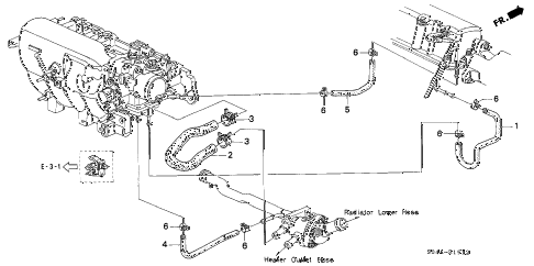 1999 civic GX 4 DOOR 4AT WATER HOSE (3) diagram