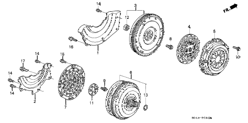 1998 civic LX 4 DOOR 5MT CLUTCH - TORQUE CONVERTER diagram