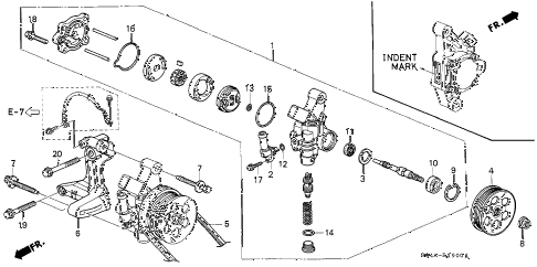 1998 civic LX 4 DOOR 5MT P.S. PUMP - BRACKET diagram