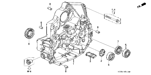2000 civic DX 4 DOOR 5MT MT CLUTCH HOUSING diagram