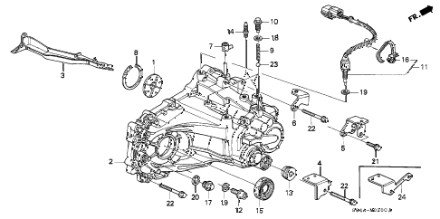 2000 civic EX 4 DOOR 5MT MT TRANSMISSION HOUSING diagram