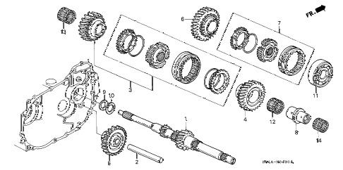 2000 civic EX 4 DOOR 5MT MT MAINSHAFT diagram
