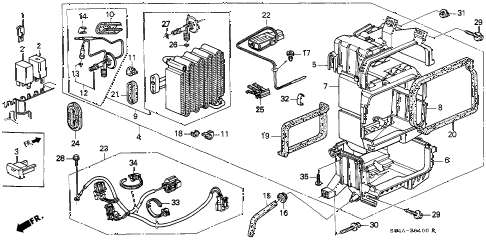 1998 civic DX 4 DOOR 5MT A/C UNIT (1) diagram