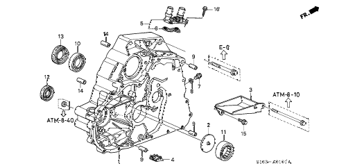 1998 cr-v LX(2WD) 5 DOOR 4AT AT TORQUE CONVERTER HOUSING (2WD) diagram