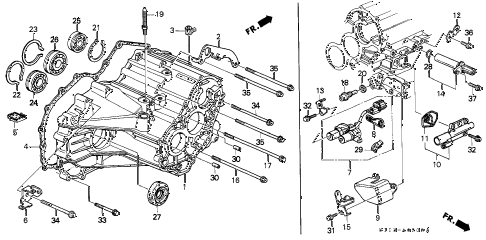 2001 cr-v SE 5 DOOR 4AT AT TRANSMISSION HOUSING (4WD) diagram