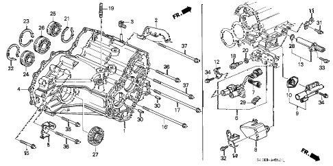 2000 cr-v LX(2WD,SUZUKA) 5 DOOR 4AT AT TRANSMISSION HOUSING (2WD) diagram