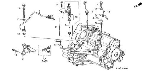 1998 cr-v LX(2WD) 5 DOOR 4AT AT ATF PIPE - SPEEDOMETER GEAR (2WD) diagram