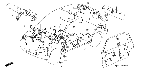 2000 cr-v SE 5 DOOR 4AT WIRE HARNESS diagram
