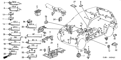 2001 cr-v LX(4WD) 5 DOOR 4AT HARNESS BAND - BRACKET diagram