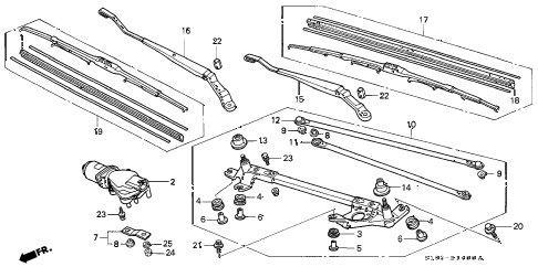 1999 cr-v EX 5 DOOR 5MT FRONT WINDSHIELD WIPER diagram