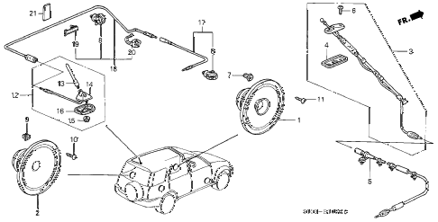 1998 cr-v EX 5 DOOR 5MT ANTENNA - SPEAKER diagram