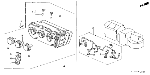 2000 cr-v LX(4WD) 5 DOOR 4AT HEATER CONTROL diagram