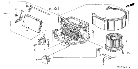1998 cr-v EX 5 DOOR 4AT HEATER BLOWER diagram