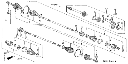 2001 cr-v SE(SUZUKA) 5 DOOR 4AT DRIVESHAFT - HALF SHAFT (2) diagram