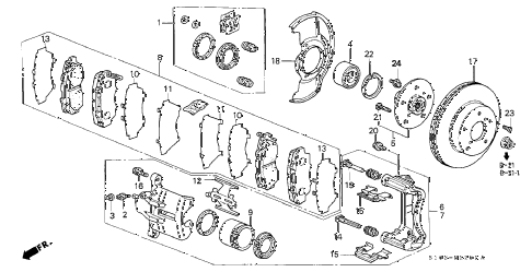 1999 cr-v EX 5 DOOR 4AT FRONT BRAKE diagram