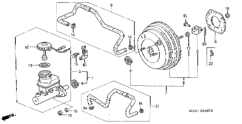 1997 cr-v LX(4WD) 5 DOOR 4AT BRAKE MASTER CYLINDER  - MASTER POWER (1) diagram