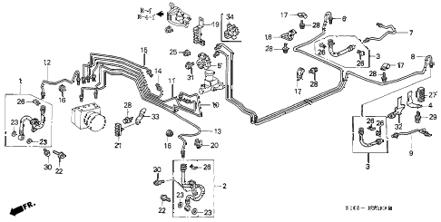 1999 cr-v EX 5 DOOR 5MT BRAKE LINES (ABS) diagram