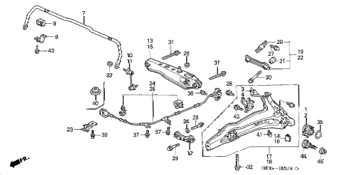 2001 cr-v EX(SUZUKA) 5 DOOR 5MT REAR LOWER ARM diagram
