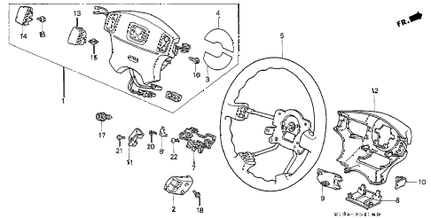 1997 cr-v LX(4WD ABS) 5 DOOR 4AT STEERING WHEEL (SRS) diagram