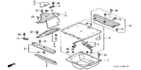 1998 cr-v EX 5 DOOR 5MT REAR FLOOR BOX - TABLE diagram