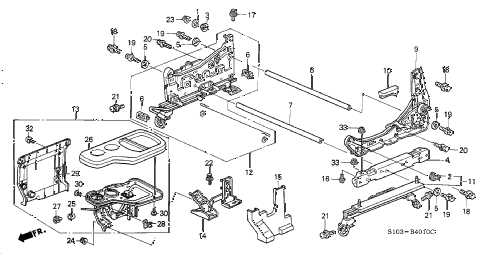 1997 cr-v LX(4WD) 5 DOOR 4AT FRONT SEAT COMPONENTS (L.) (1) diagram