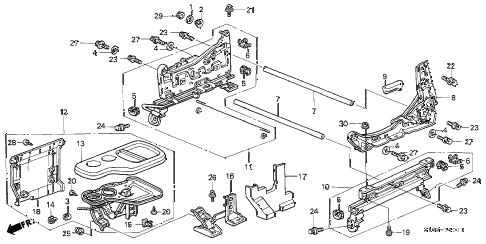 2000 cr-v LX(2WD) 5 DOOR 4AT FRONT SEAT COMPONENTS (L.) (2) diagram