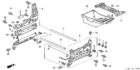 1997 cr-v LX(4WD) 5 DOOR 4AT FRONT SEAT COMPONENTS (R.) (1) diagram