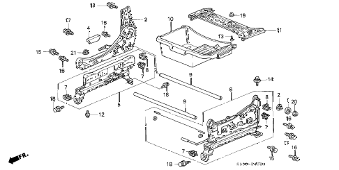 2000 cr-v EX 5 DOOR 4AT FRONT SEAT COMPONENTS (R.) (2) diagram