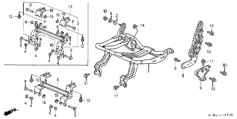 1999 cr-v LX(4WD) 5 DOOR 5MT REAR SEAT COMPONENTS (L.) (1) diagram