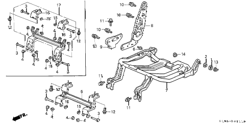 2000 cr-v LX(4WD) 5 DOOR 4AT REAR SEAT COMPONENTS (R.) (1) diagram