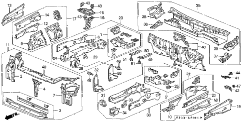 2001 cr-v EX(SUZUKA) 5 DOOR 4AT FRONT BULKHEAD diagram