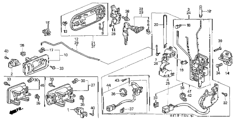 2000 cr-v LX(2WD,SUZUKA) 5 DOOR 4AT FRONT DOOR LOCKS diagram
