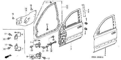 1998 cr-v LX(2WD) 5 DOOR 4AT FRONT DOOR PANELS diagram