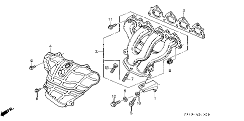 2000 cr-v EX 5 DOOR 5MT EXHAUST MANIFOLD (1) diagram