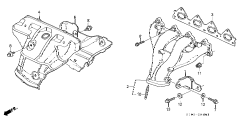 1998 cr-v LX(2WD) 5 DOOR 4AT EXHAUST MANIFOLD (2) diagram