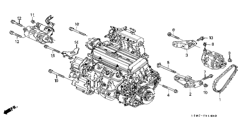 2000 cr-v LX(4WD) 5 DOOR 5MT ALTERNATOR BRACKET diagram